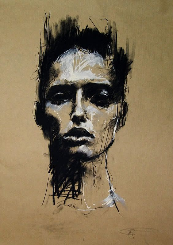 Too dark. But like the strength. Figure should be slightly abstract, confident, strong, far seeing, not tortured. Black, white, color. Image detail for -Guy Denning Forum.
