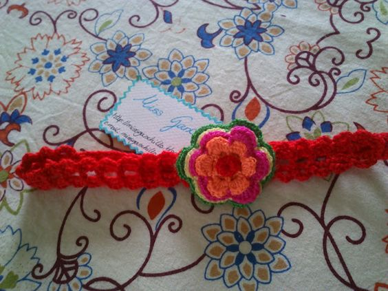 Crochet diadema flor de crochet o ganchillo para ni as - Diademas de ganchillo ...