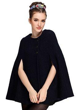 Shop Black Wool Blend Cape Coat from choies.com .Free shipping Worldwide.$25.9