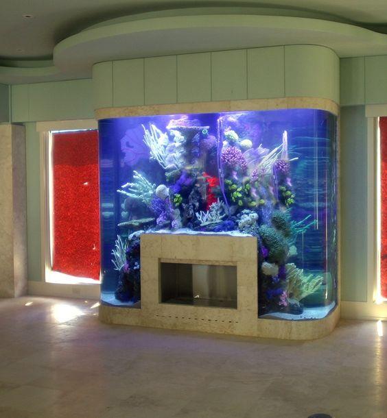 Aquarium surrounding fireplace ideas home creative for Creative fish tanks