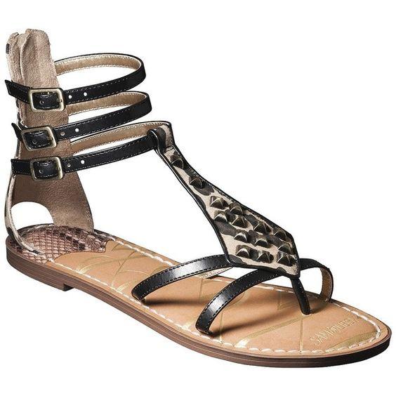 Women's Sam & Libby Karli Tall Gladiator Sandal with Triangle Studs - Black ($20) found on Polyvore