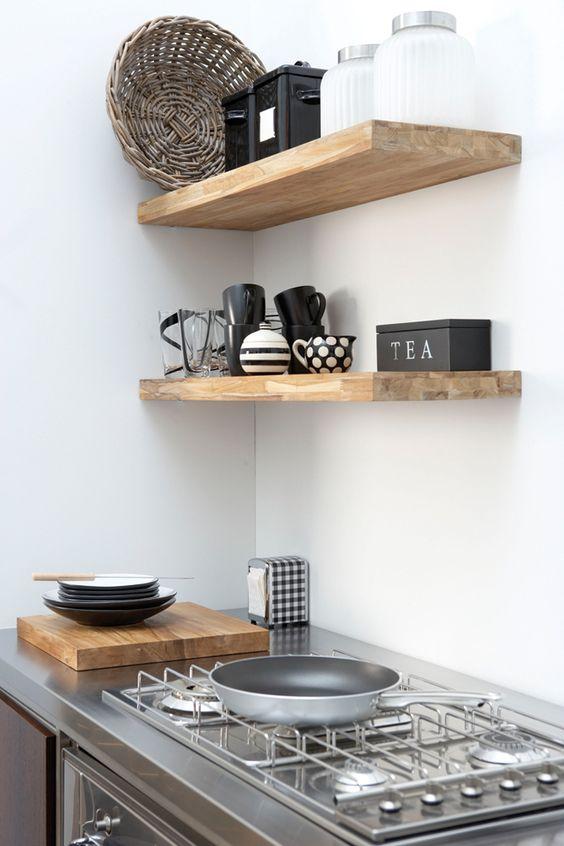Small Kitchens Block Shelvestimber