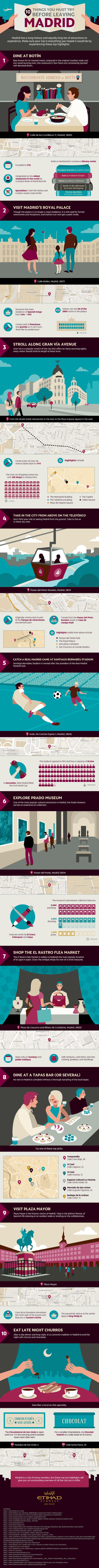 Ten Things to Try Before Leaving #Madrid - Do you fancy an infographic?  There are a lot of them online, but if you want your own please visit http://www.linfografico.com/prezzi/  Online girano molte infografiche, se ne vuoi realizzare una tutta tua visita http://www.linfografico.com/prezzi/