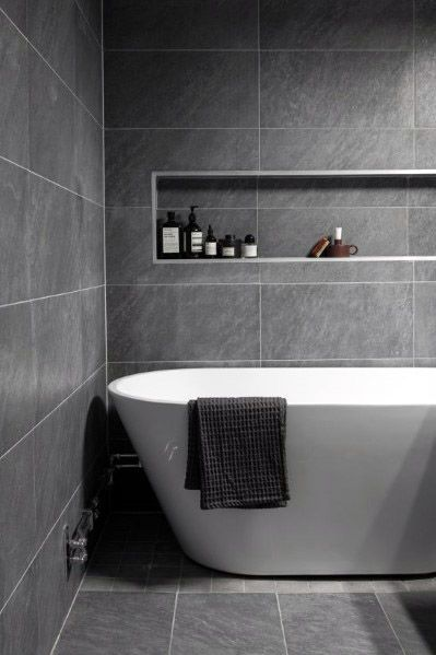 Top 60 Best Grey Bathroom Tile Ideas Neutral Interior Designs Top Bathroom Design Modern Bathroom Design Neutral Bathroom Tile