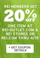 Are you an REI Member? Don't forget your 20% off One Item, valid until April 15!