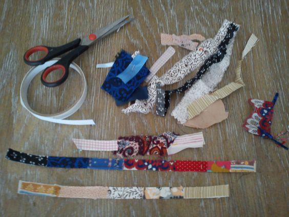 double-sided adhesive tape + fabric leftovers = fabric washitape - dubelzijdige plakband + restjes stof = stoffen washitape