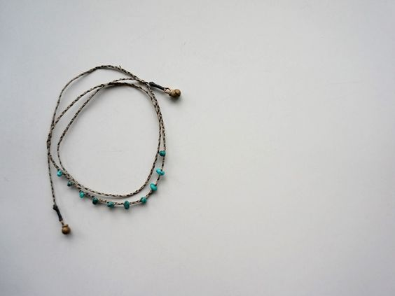 Linen Cord & Turquoise Braid 3way