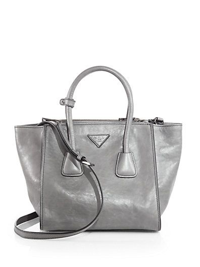 prada authentic shoes - Prada - Glac�� Calf Small Twin Pocket Tote - Saks.com | Obsessions ...
