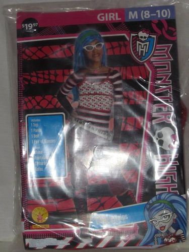 NIP Girls M 8 10 MONSTER HIGH Ghoulia Yelps Costume Zombie Top Pants Belt More