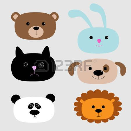 Establece cabeza Animal. Oso de la historieta, conejo, gato, perro, panda, le�n. Ilustraci�n vectorial photo