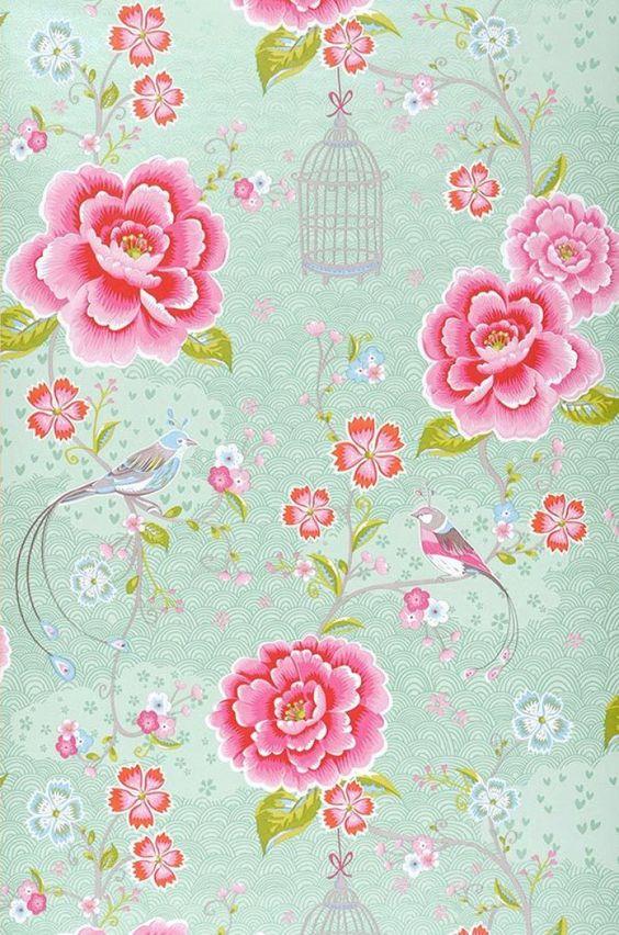 amina papier peint floral motifs du papier peint papier peint des ann es 70 chambre. Black Bedroom Furniture Sets. Home Design Ideas