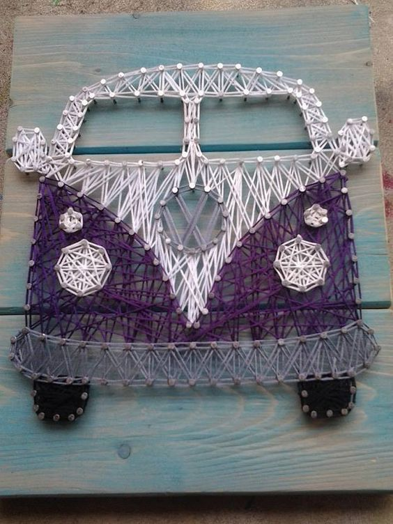 vw bus string art by nailedandhammered on etsy pinterest busse fadenkunst und. Black Bedroom Furniture Sets. Home Design Ideas