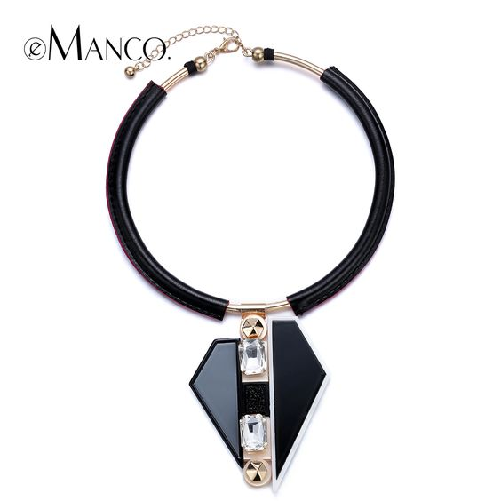 Black collar necklaces geometric acrylic pendant leather cord bib statement necklace 2015 torques necklace women eManco NL13283