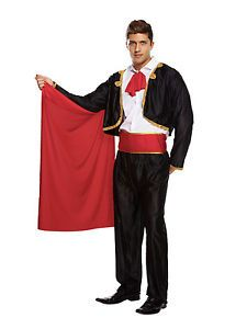 MENS-MATADOR-BULL-FIGHTER-MAN-SPANISH-FANCY-DRESS-COSTUME-STAG-OUTFIT-RED-CAPE