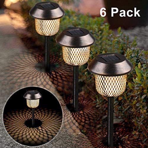Xddias Lot De 6 Lampes Solaires De Jardin En Acier Inoxydable