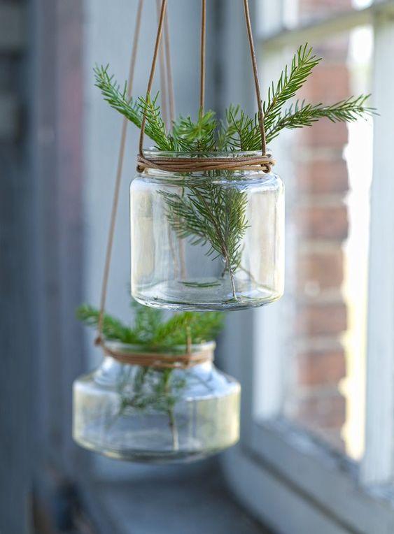 Set om 3 st hängande glaskrukor