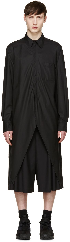Y-3: Black Peaked Hem Shirt | SSENSE