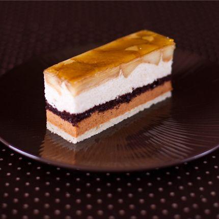 ... apple, apple mousse, chocolate sponge, caramel mousse & almond sponge
