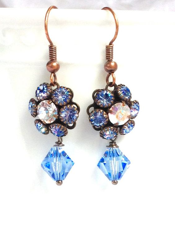 Light Blue Swarovski Crystal and Bronze Drop by thepinkcamellia