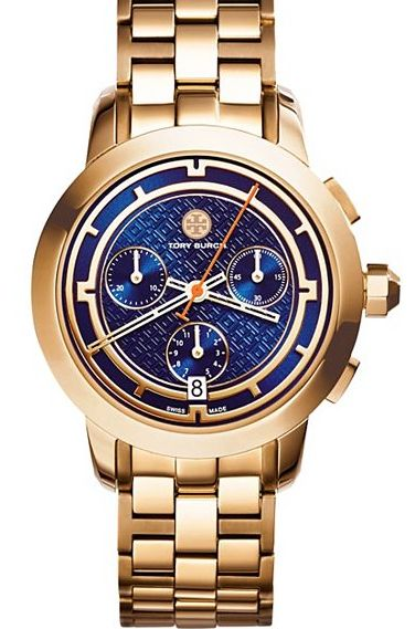 navy faced Tory Burch chronograph watch