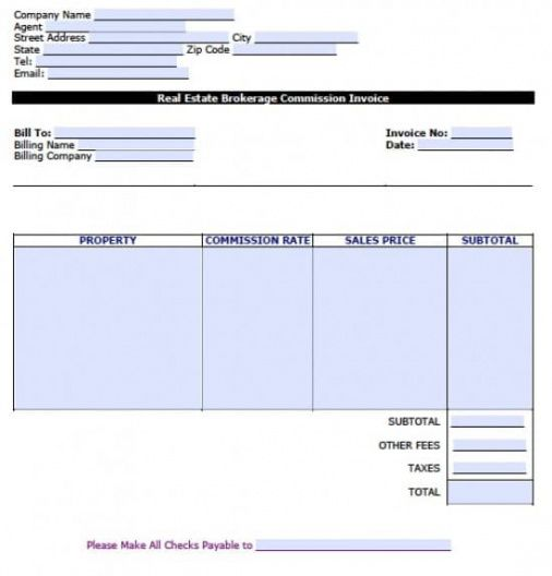 Real Estate Commission Invoice Template In 2020 Invoice Template