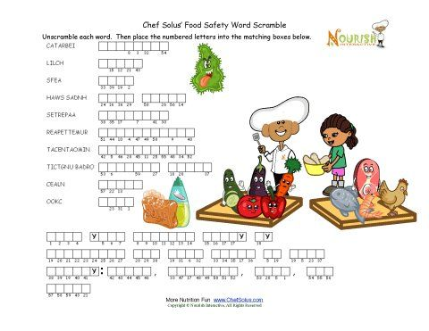 Worksheets Food Safety Worksheet words children and kid on pinterest food safety unscramble puzzle for children
