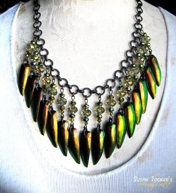 SCARAB FANTASY - Jewel Beetle Elytra Wing Amulet Necklace by Susan Tooker of Spinning Castle.
