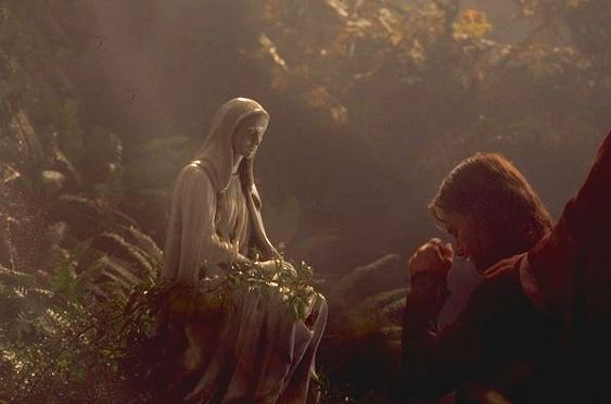 Aragorn visiting his mother's resting place