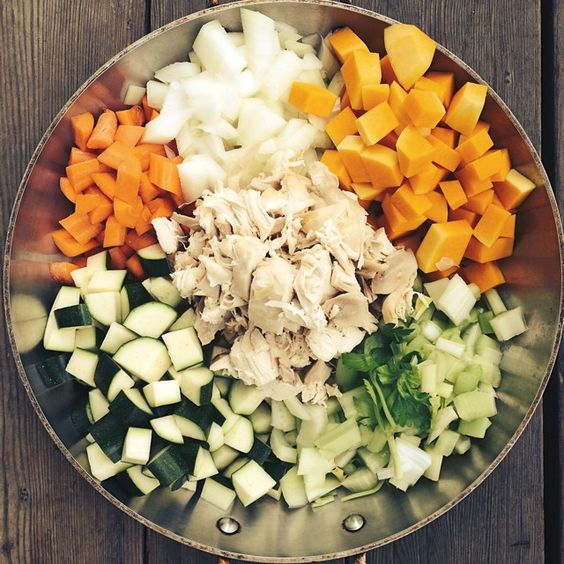 ... celery and roasted chicken. Add 5 cups bone broth and put all into a