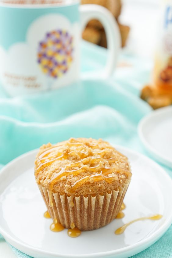 I loved these Caramel Muffins with my coffee this morning and they only took about 30 minutes to make! They're simply sweet with a gooey caramel center!