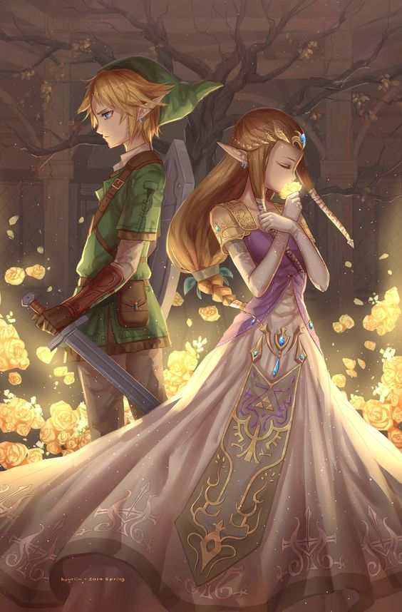 Link and Zelda by Kyuriin #LegendofZelda #Gaming <- such lovely, very art, much shipping