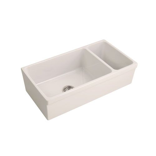 Barclay Products Fsdb1514 Bq Lowell 36 Inch Reversible Dbl Bwl Fireclay Farmer Sink Bisque Double Bowl Kitchen Sink White Ceramic Kitchen Sink Sink