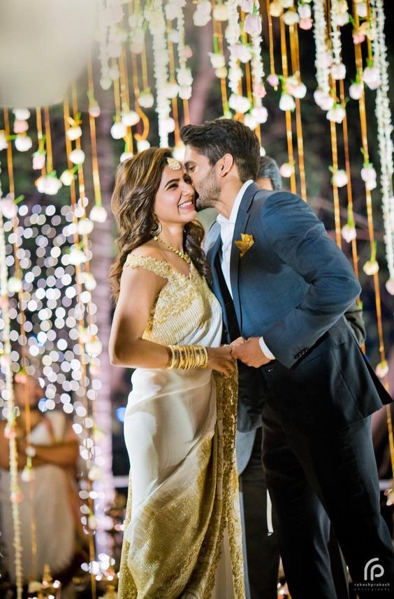 Shopzters | The Engagement Saree Etched With Samantha and Chaitanya's Love Story With Exclusive - Never Seen Before Pics!!!