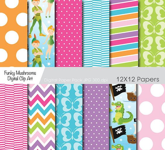 Digital Paper - Neverland for scrapbooking paper crafts invitations cards making web designs commercial use - INSTANT DOWNLOAD