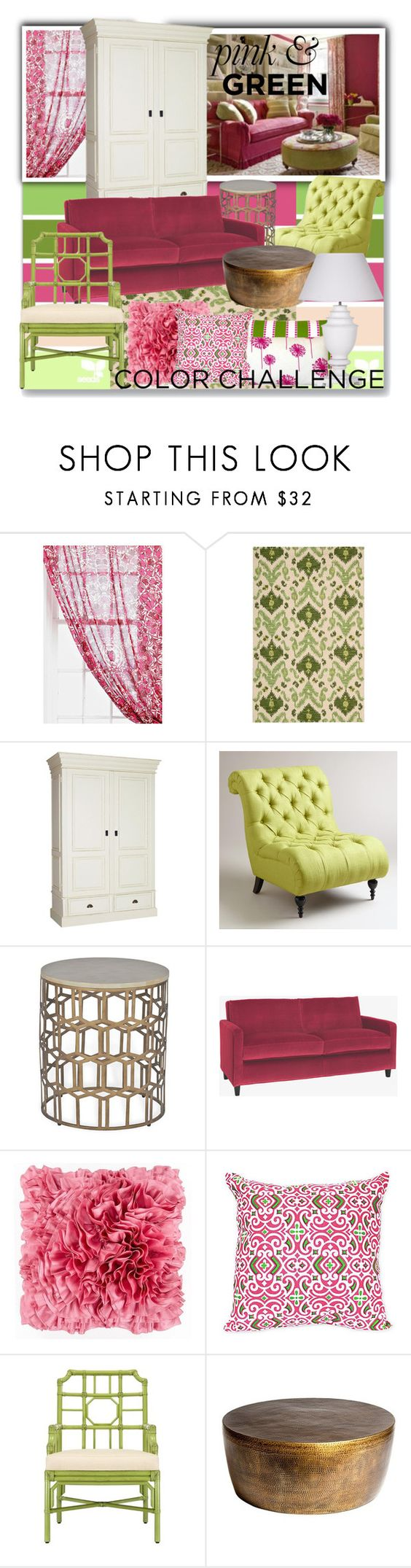 """""""Color challenge~pink & green"""" by suzanne228 ❤ liked on Polyvore featuring interior, interiors, interior design, home, home decor, interior decorating, Magical Thinking, Nourison, Cost Plus World Market and Surya"""