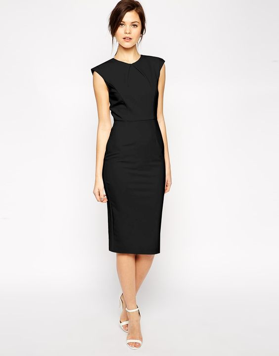 ASOS Pencil Dress with Structured Fold Sleeve