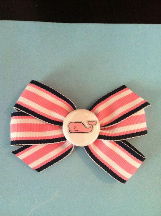 Vineyard Vines inspired Grosgrain Ribbon Hair Bow- pink, blue and white