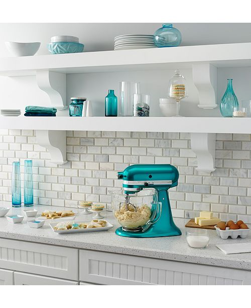 I M Not Totally In Love With This Image However I Really Like The Subway Tiles And The Teal Accents In 2020 Teal Kitchen Kitchen Colour Schemes Kitchenaid Artisan