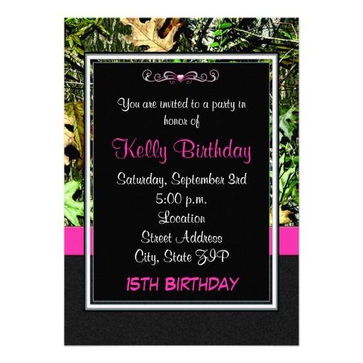 pink camo birthday party invitation jpeg 300 by decoratyourdoor, Birthday invitations