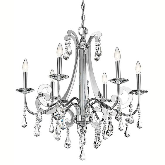 """Kichler 42545 Leanora Single-Tier  Chandelier with 6 Lights - 72"""" Chain Included Chrome Indoor Lighting Chandeliers"""