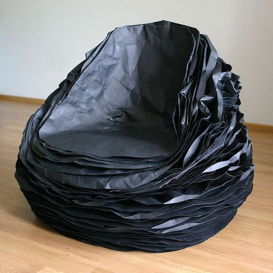 Black paper chair: