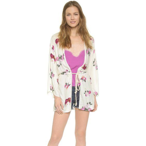 MINKPINK Pink Petals Kimono (125 CAD) ❤ liked on Polyvore
