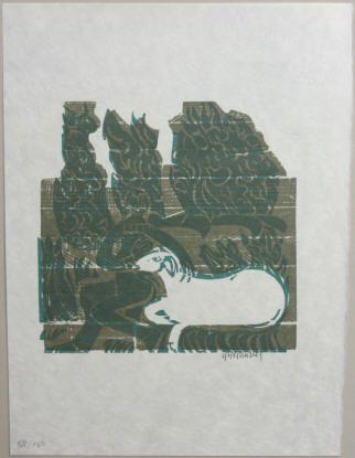 HAP Grieshaber Holzschnitt auf Japanpapier, eins von 150 nummerierten und signierten Exemplaren