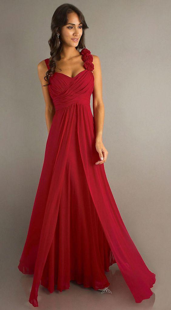 Floor Length Red Chiffon Flowy Semi Formal Dress Empire Waist ...