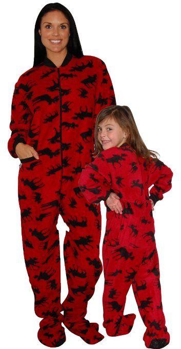 Matching Family #Pajamas: Red Moose Footed Pajamas | Matching ...