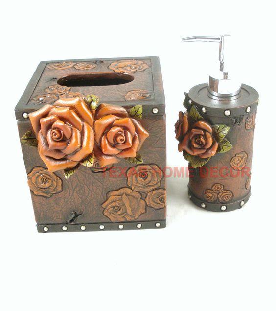 western floral decorative bathroom accessory set 2 pieces rose