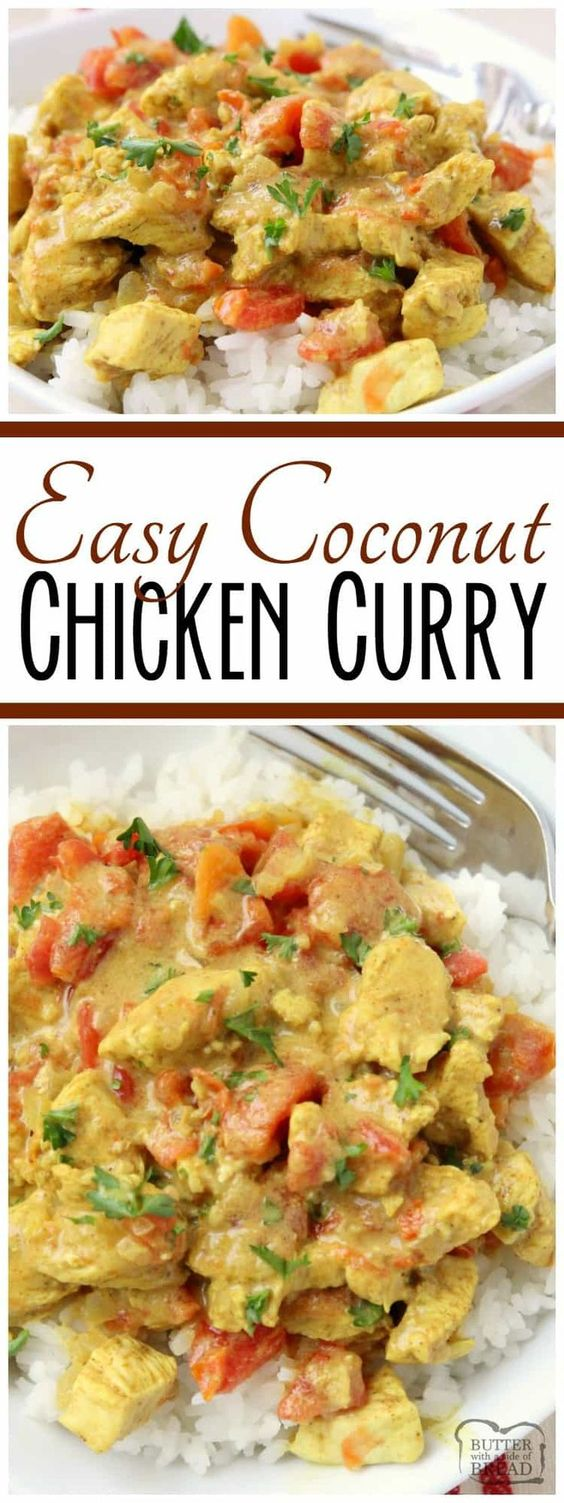 Coconut Curry Chicken recipe perfect for a busy weeknight meal! Simple, flavorful and healthy #chicken #dinner for anyone who loves a mild #curry. #Coconut Curry #recipe with #chicken from Butter With A Side of Bread AD #HuntsDifference