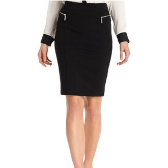Michael Kors pencil skirt Pencil skirt. Length is 23inches. I took out he tag in the back ( shown in last picture minor defect) but product is 100% authentic. Michael Kors detailing on all the zippers as pictured. Michael Kors Skirts Pencil