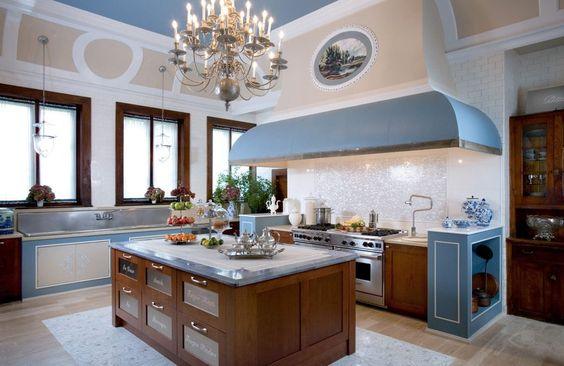 Cream And Soft Blue Themed Combine French Country Kitchens With ...