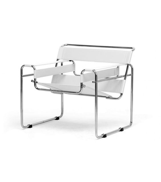 Midcentury Modern White Leather Wassily Breuer Style Chair #wassily #breuer #modern #chair